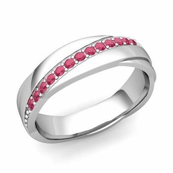 Ruby Wedding Anniversary Ring in 14k Gold Shiny Rolling Wedding Band, 6mm