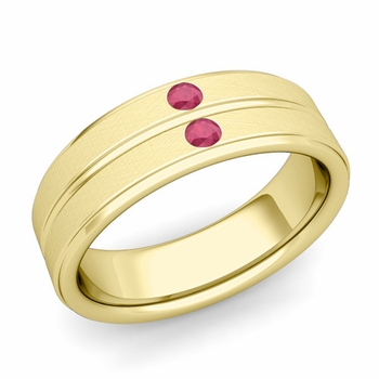 Ruby Wedding Anniversary Ring in 18k Gold Brushed Flat Wedding Band, 6.5mm