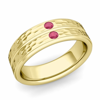 Ruby Wedding Anniversary Ring in 18k Gold Hammered Flat Wedding Band, 6.5mm