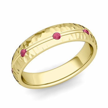 Ruby Wedding Anniversary Ring in 18k Gold Hammered Wave Wedding Band, 5mm