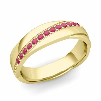 Ruby Wedding Anniversary Ring in 18k Gold Shiny Rolling Wedding Band, 6mm