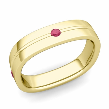 Ruby Wedding Anniversary Ring in 18k Gold Shiny Square Wedding Band, 5mm