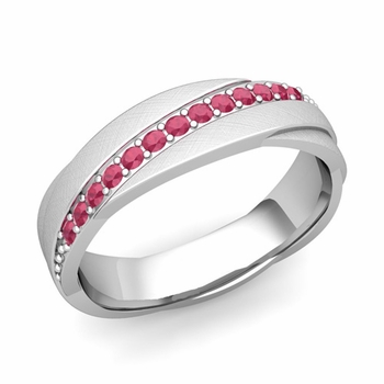 Ruby Wedding Anniversary Ring in Platinum Brushed Rolling Wedding Band, 6mm