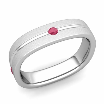 Ruby Wedding Anniversary Ring in Platinum Brushed Square Wedding Band, 5mm