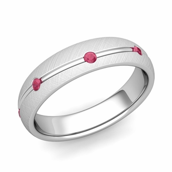 Ruby Wedding Anniversary Ring in Platinum Brushed Wave Wedding Band, 5mm