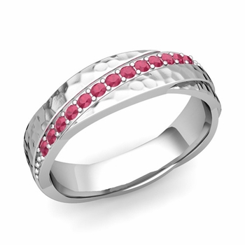 Ruby Wedding Anniversary Ring in Platinum Hammered Rolling Wedding Band, 6mm