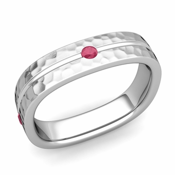 Ruby Wedding Anniversary Ring in Platinum Hammered Square Wedding Band, 5mm