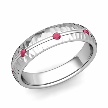 Ruby Wedding Anniversary Ring in Platinum Hammered Wave Wedding Band, 5mm