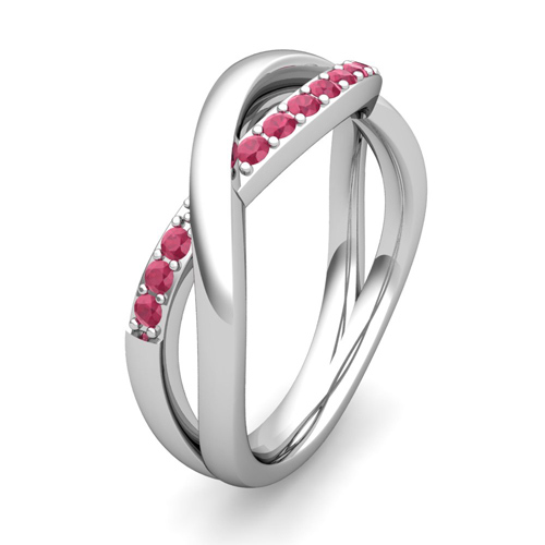 Ruby wedding anniversary ring in platinum infinity wedding for Ruby wedding band rings