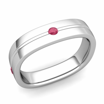 Ruby Wedding Anniversary Ring in Platinum Shiny Square Wedding Band, 5mm