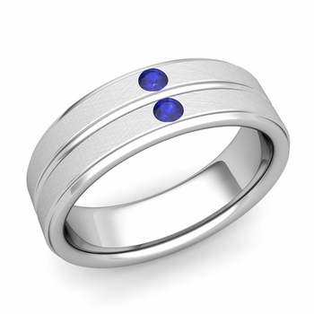 Sapphire Wedding Anniversary Ring in 14k Gold Brushed Flat Wedding Band, 6.5mm