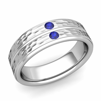 Sapphire Wedding Anniversary Ring in 14k Gold Hammered Flat Wedding Band, 6.5mm