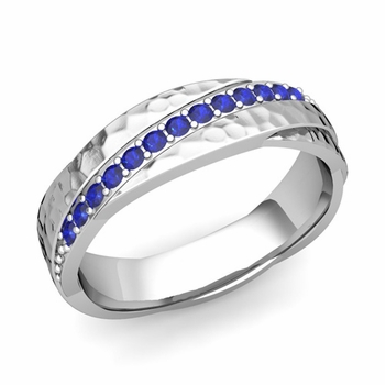 Sapphire Wedding Anniversary Ring in 14k Gold Hammered Rolling Wedding Band, 6mm