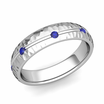 Sapphire Wedding Anniversary Ring in 14k Gold Hammered Wave Wedding Band, 5mm