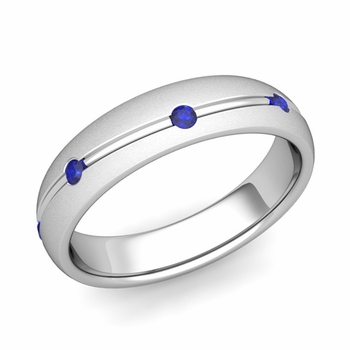 Sapphire Wedding Anniversary Ring in 14k Gold Satin Wave Wedding Band, 5mm