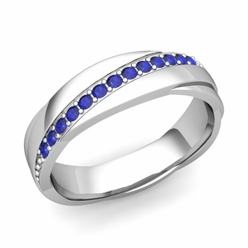 Sapphire Wedding Anniversary Ring in 14k Gold Shiny Rolling Wedding Band, 6mm