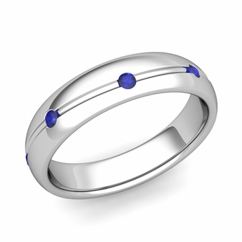 Sapphire Wedding Anniversary Ring in 14k Gold Shiny Wave Wedding Band, 5mm