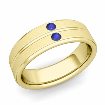 Sapphire Wedding Anniversary Ring in 18k Gold Brushed Flat Wedding Band, 6.5mm