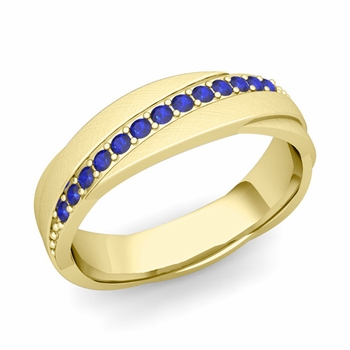 Sapphire Wedding Anniversary Ring in 18k Gold Brushed Rolling Wedding Band, 6mm
