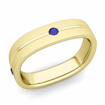 Sapphire Wedding Anniversary Ring in 18k Gold Brushed Square Wedding Band, 5mm