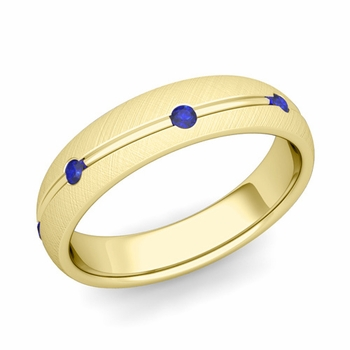 Sapphire Wedding Anniversary Ring in 18k Gold Brushed Wave Wedding Band, 5mm