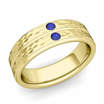 Sapphire Wedding Anniversary Ring in 18k Gold Hammered Flat Wedding Band, 6.5mm