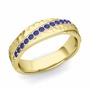 Sapphire Wedding Anniversary Ring in 18k Gold Hammered Rolling Wedding Band, 6mm