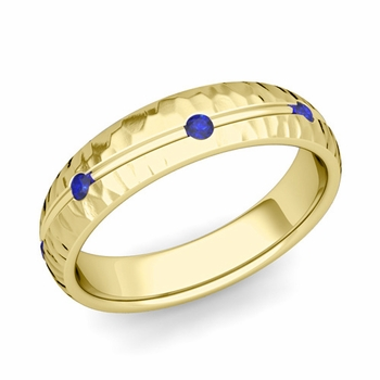 Sapphire Wedding Anniversary Ring in 18k Gold Hammered Wave Wedding Band, 5mm