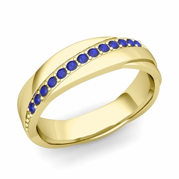 Sapphire Wedding Anniversary Ring in 18k Gold Shiny Rolling Wedding Band, 6mm