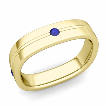 Sapphire Wedding Anniversary Ring in 18k Gold Shiny Square Wedding Band, 5mm
