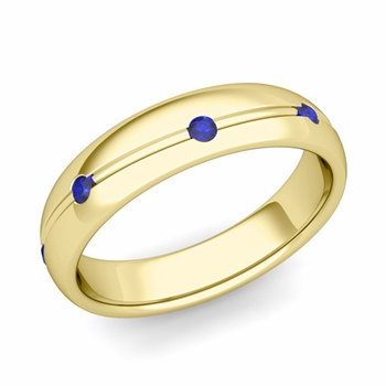 Sapphire Wedding Anniversary Ring in 18k Gold Shiny Wave Wedding Band, 5mm
