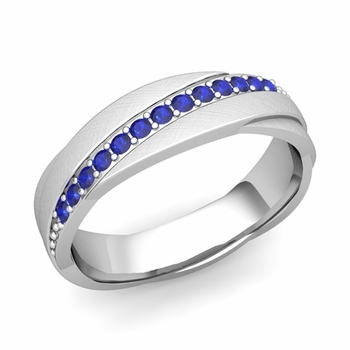Sapphire Wedding Anniversary Ring in Platinum Brushed Rolling Wedding Band, 6mm