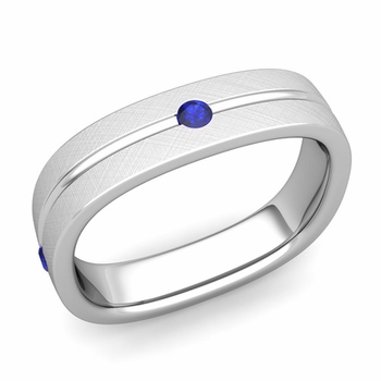 Sapphire Wedding Anniversary Ring in Platinum Brushed Square Wedding Band, 5mm