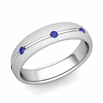 Sapphire Wedding Anniversary Ring in Platinum Brushed Wave Wedding Band, 5mm