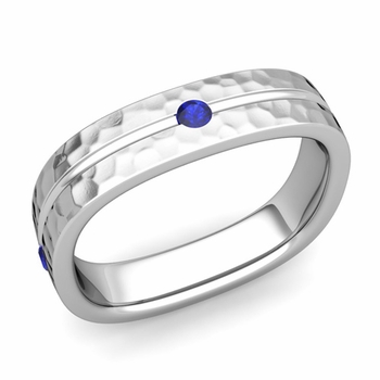 Sapphire Wedding Anniversary Ring in Platinum Hammered Square Wedding Band, 5mm