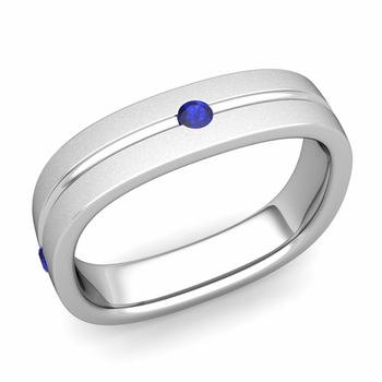Sapphire Wedding Anniversary Ring in Platinum Satin Square Wedding Band, 5mm