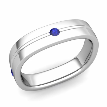 Sapphire Wedding Anniversary Ring in Platinum Shiny Square Wedding Band, 5mm
