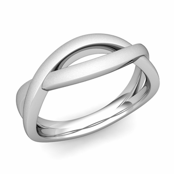 Satin Finish Infinity Wedding Band Ring in Platinum Comfort Fit Band, 6mm