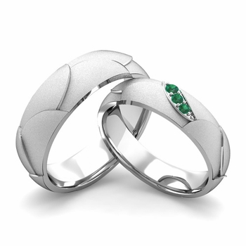 Satin Finish Matching Wedding Band in 14k Gold 3 Stone Emerald Wedding Rings