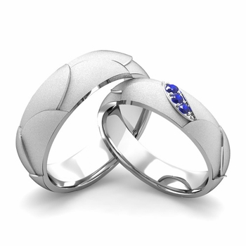 Satin Finish Matching Wedding Band in 14k Gold 3 Stone Sapphire Wedding Rings