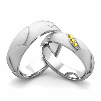 Satin Finish Matching Wedding Band in 14k Gold 3 Stone Yellow Sapphire Wedding Rings