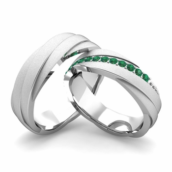 Satin Finish Matching Wedding Band in 14k Gold Emerald Rolling Wedding Rings