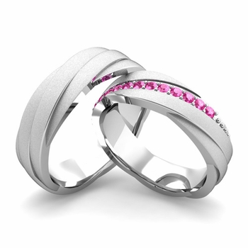 Satin Finish Matching Wedding Band in 14k Gold Pink Sapphire Rolling Wedding Rings