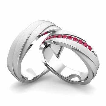 Satin Finish Matching Wedding Band in 14k Gold Ruby Rolling Wedding Rings