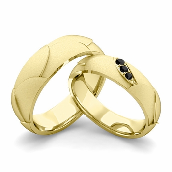 Satin Finish Matching Wedding Band in 18k Gold 3 Stone Black Diamond Wedding Rings