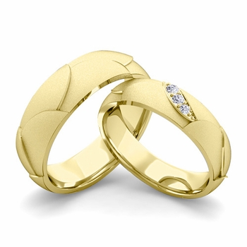 Satin Finish Matching Wedding Band in 18k Gold 3 Stone Diamond Wedding Rings