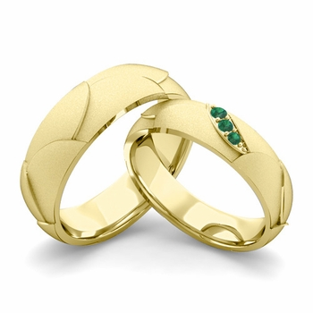 Satin Finish Matching Wedding Band in 18k Gold 3 Stone Emerald Wedding Rings
