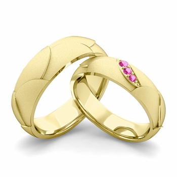 Satin Finish Matching Wedding Band in 18k Gold 3 Stone Pink Sapphire Wedding Rings