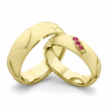 Satin Finish Matching Wedding Band in 18k Gold 3 Stone Ruby Wedding Rings