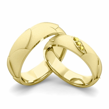 Satin Finish Matching Wedding Band in 18k Gold 3 Stone Yellow Sapphire Wedding Rings